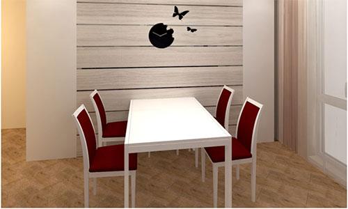 Горизонтальное расположение ламината на стене кухни