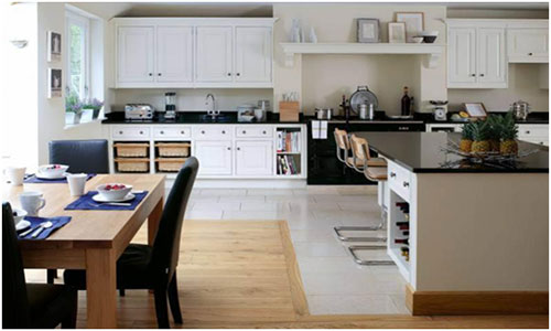 Разделение зон на кухне ламинатом и плиткой