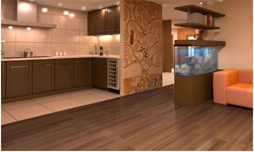 Сочетание керамогранитной плитки и ламината на кухне