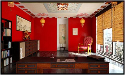 Красные стены ив сочетании с серым полом