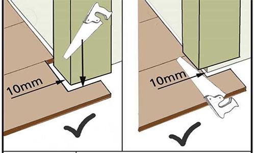 Подпиливание дверной коробки для создания зазора для ламината