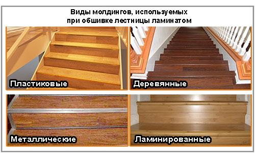 Виды молдингов при обшивке лестницы ламинатом