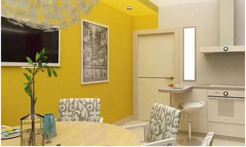 Желтые обои в сочетании с ламинатом