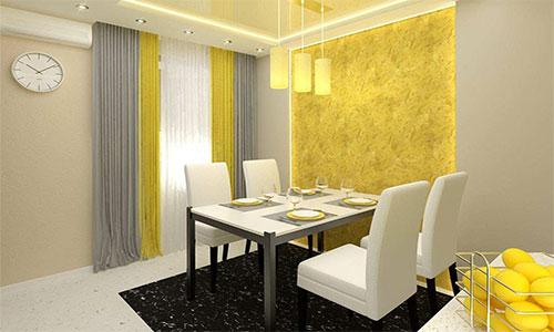 Желтые узоры на стенах и ламинат серого оттенка