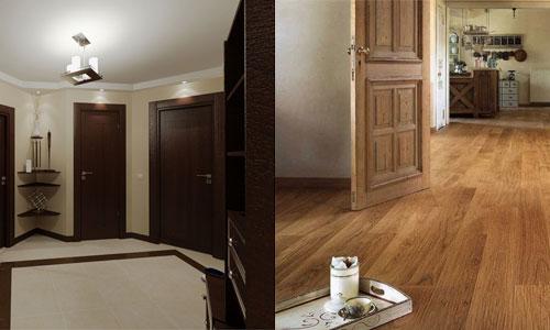Коричневые двери и ламинат в интерьере комнаты