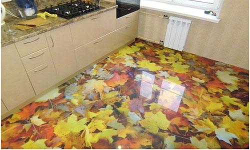 Глянцевый наливной пол на кухне