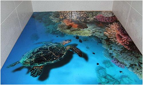 Наливной пол с имитацией морского дна