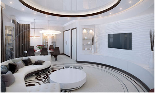 Наливной пол в интерьере гостиной
