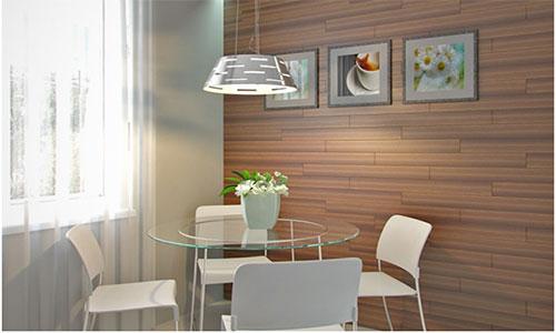 Оформление стены кухни ламинатом